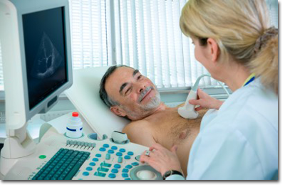 Man getting Ultrasound screening
